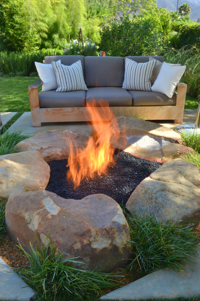 landmann fire pit Patio Contemporary with backyard fire pit fire ring grass grasses lawn outdoor cushions patio furniture