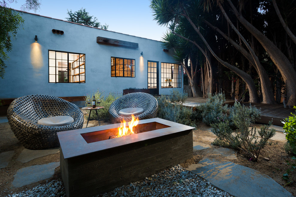 Landmann Fire Pit Patio Contemporary with Deck Exterior Firepit Flagstone Metal Chairs Outdoor Living Plants Side Table