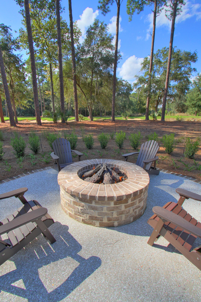 Landmann Fire Pit Patio Traditional with Adirondack Chairs Brick Paving Fire Pit Hedge Patio Furniture Paved Patio