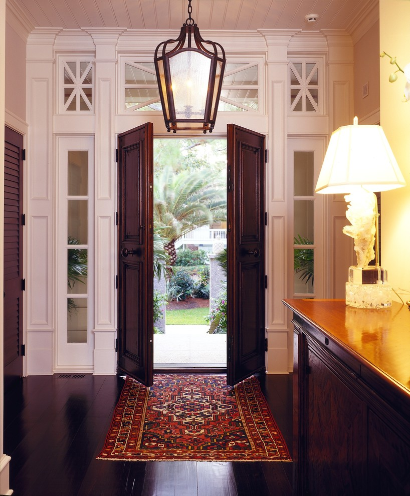 Lantern Chandelier Entry Traditional with Accent Window Dark Wood Dark Wood Door Dark Wood Floor Lantern Oriental