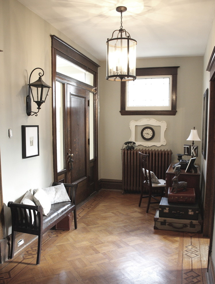 Lantern Light Fixtures Entry Eclectic with Baseboard Desk Entry Bench Foyer Front Door Lantern Leather Cushion Neutral Colors