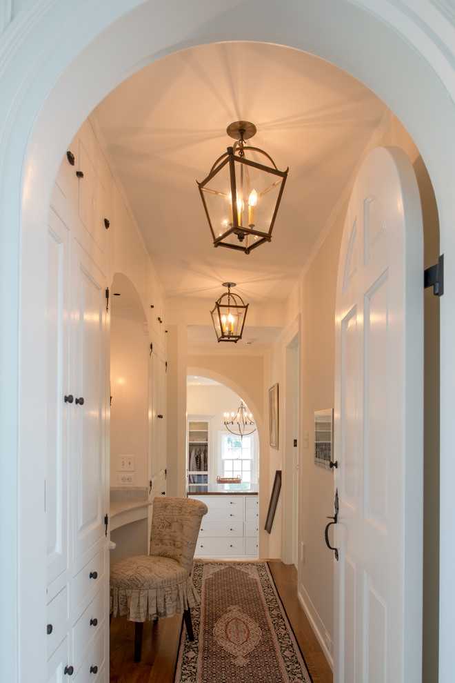Lantern Light Fixtures Hall Traditional with Addition Arched Door Archways Built Ins Carpet Runner Hall Storage Hallway Her