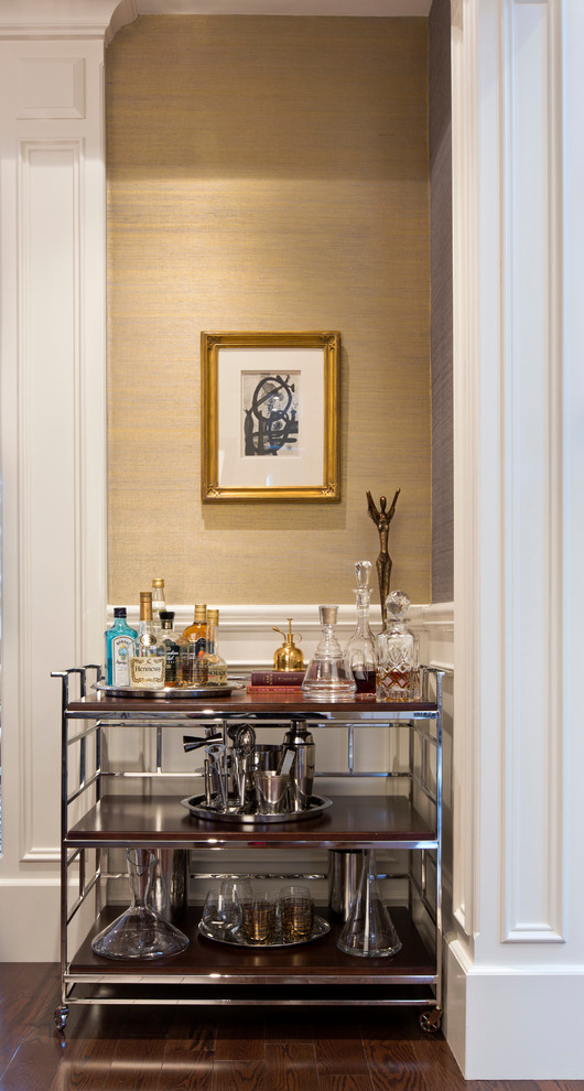 Laptop Carts Dining Room Contemporary with Bar Cart Gold Wallpaper Wood and Polished Nickle Finishes