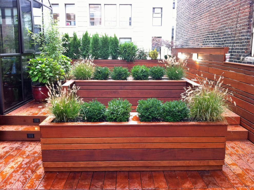 Large Outdoor Planters Deck Contemporary with Contemporary Custom Deck Garden Design Grasses Ipe Landscape Lighting Modern Ny Nyc