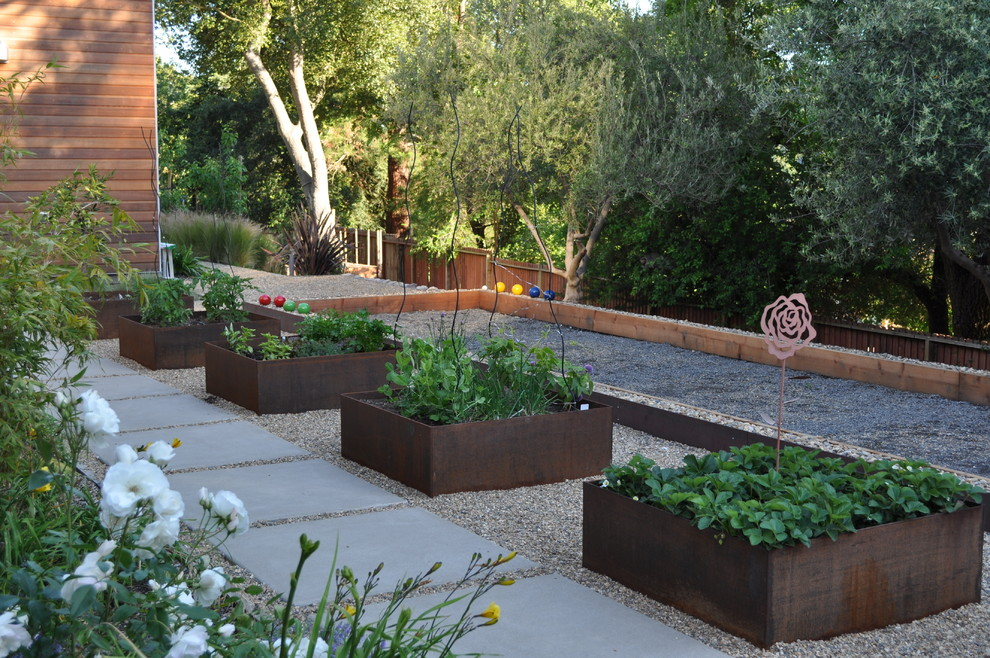 Large Outdoor Planters Landscape Contemporary with Bocce Ball Concrete Geometric Geometry Gravel Hillside Outdoor Entertaining Path Paver Planter