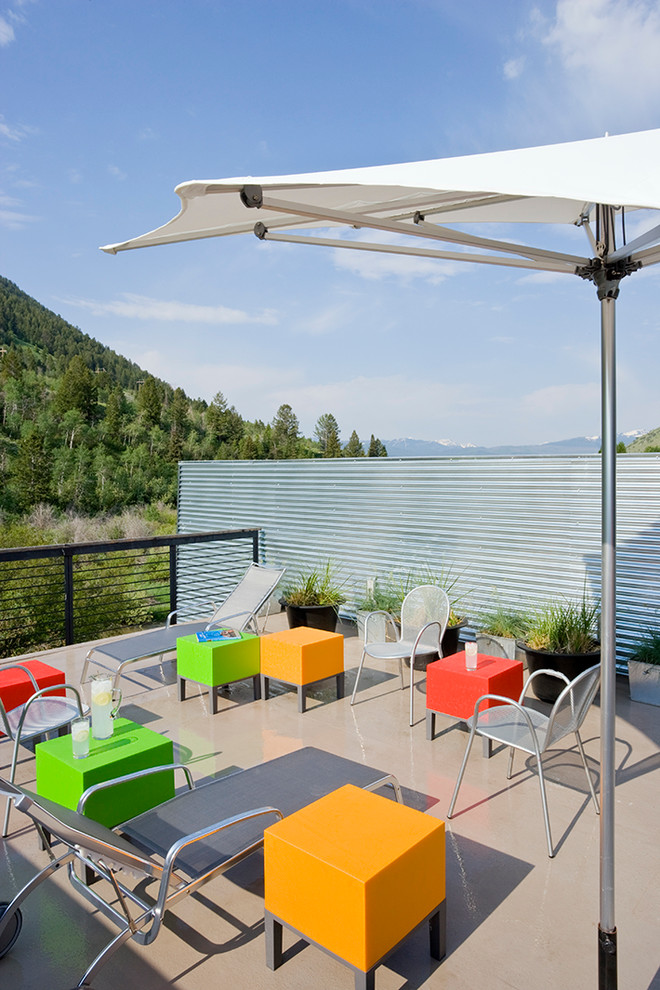 large patio umbrellas Deck Contemporary with contemporary townhome corrugated metal jackson hole metal chairs mountain contemporary mountain modern