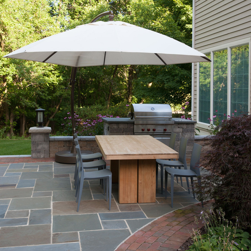 Large Patio Umbrellas Patio Traditional with Bluestone Counter Top Brick Patio Large Patio Umbrella Outdoor Dining Area Outdoor