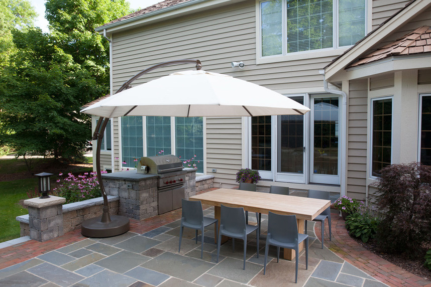 Large Patio Umbrellas Patio Traditional with Bluestone Counter Top Brick Patio Large Patio Umbrella Outdoor Dining Area Outdoor1