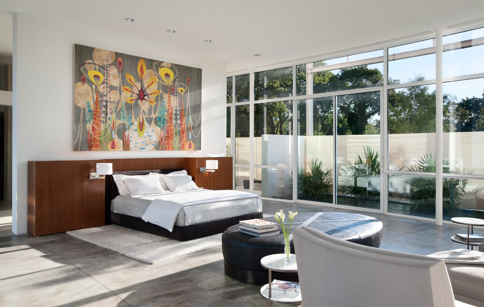 large round ottoman Bedroom Contemporary with black ottoman floor to ceiling windows full height windows gray chair Large