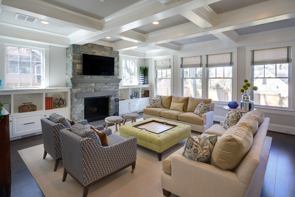 Large Square Ottoman Family Room Transitional with Beige Area Rug Beige Sofa Built in Cabinets Coffered Ceiling Green Ottoman