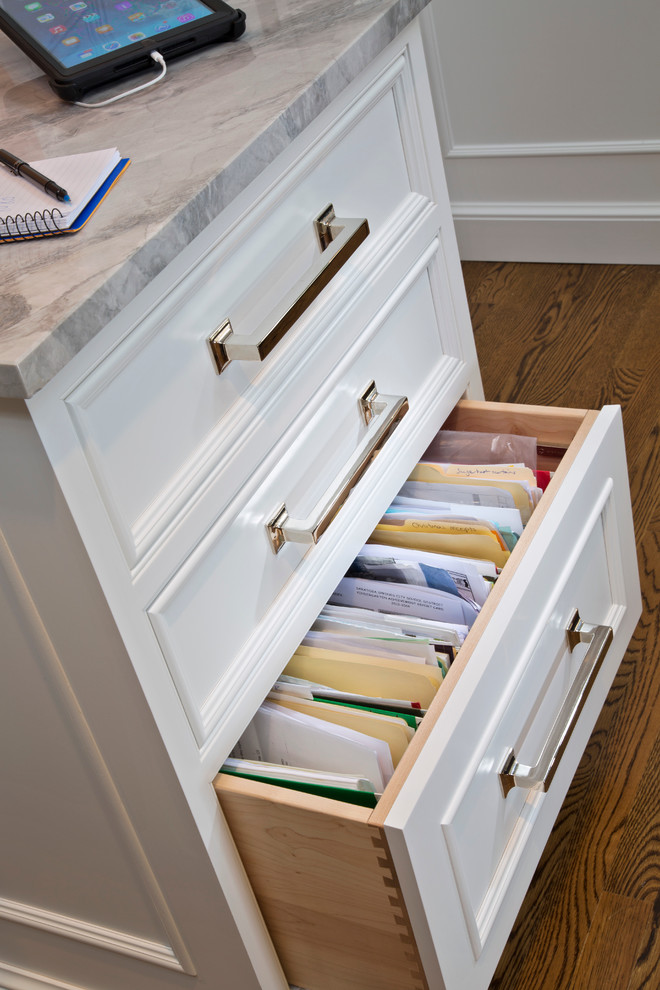 Lateral Filing Cabinets Kitchen Transitional with Banquette Bar Beams Coffered Ceiling Family Command Center File Drawers Grey Celing