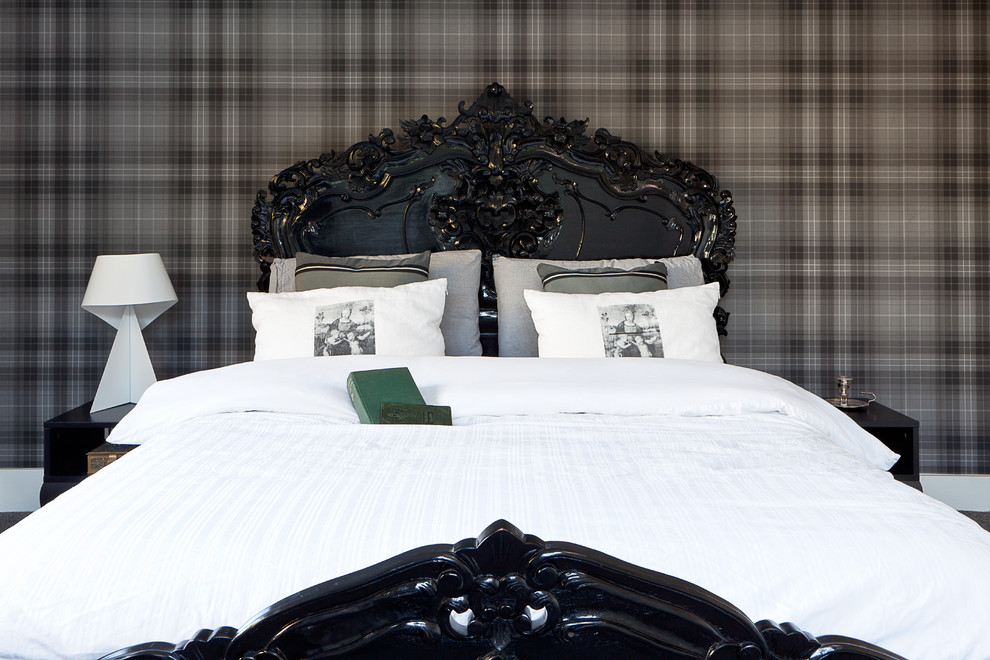 laura ashley sheets Bedroom Transitional with black and grey bedroom black bed check wall parer darkwood bedroom furniture