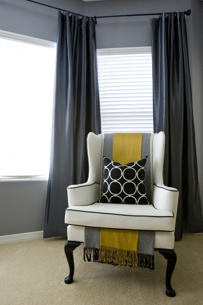 Lawn Chair Cushions Bedroom Contemporary with Blinds Circles Circles Throw Pillow Curtains Decorative Pillows Drapes Gray Gray And
