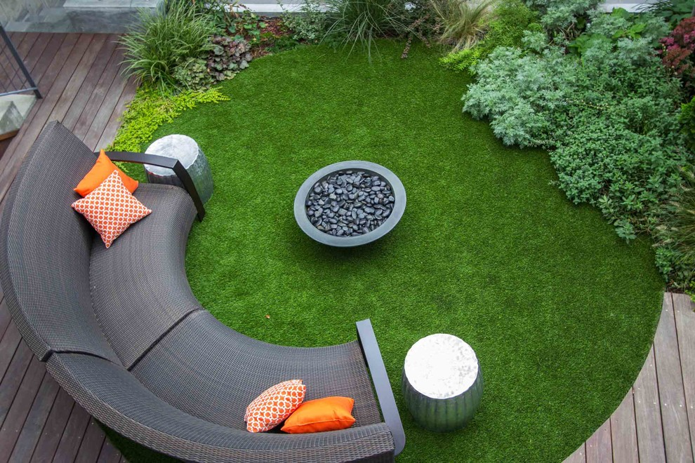 lawn furniture cushions Patio Contemporary with accent table aerial view circular custom bench deck fire bowl fire pit