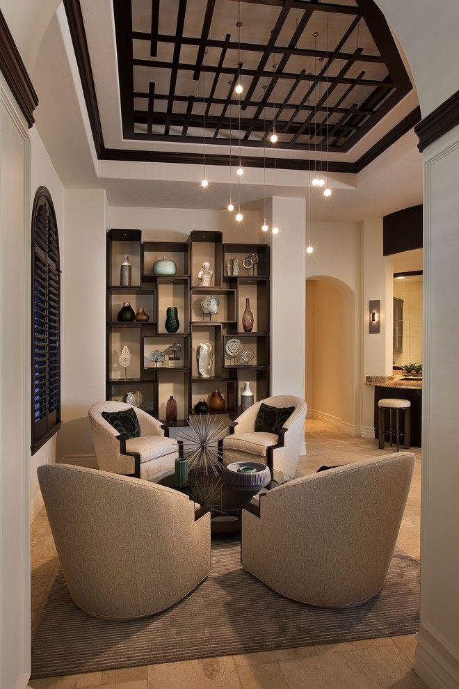 lbl lighting Living Room Transitional with alcove archway area rug armchairs Art beige black trim built-in shelves ceiling