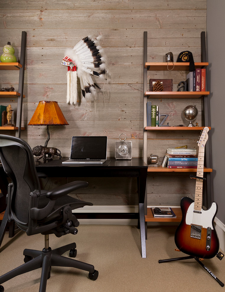 Leaning Bookshelf Home Office Contemporary with Barn Wood Beige Carpet Black Desk Black Desk Chair Custom Made Display Shelves