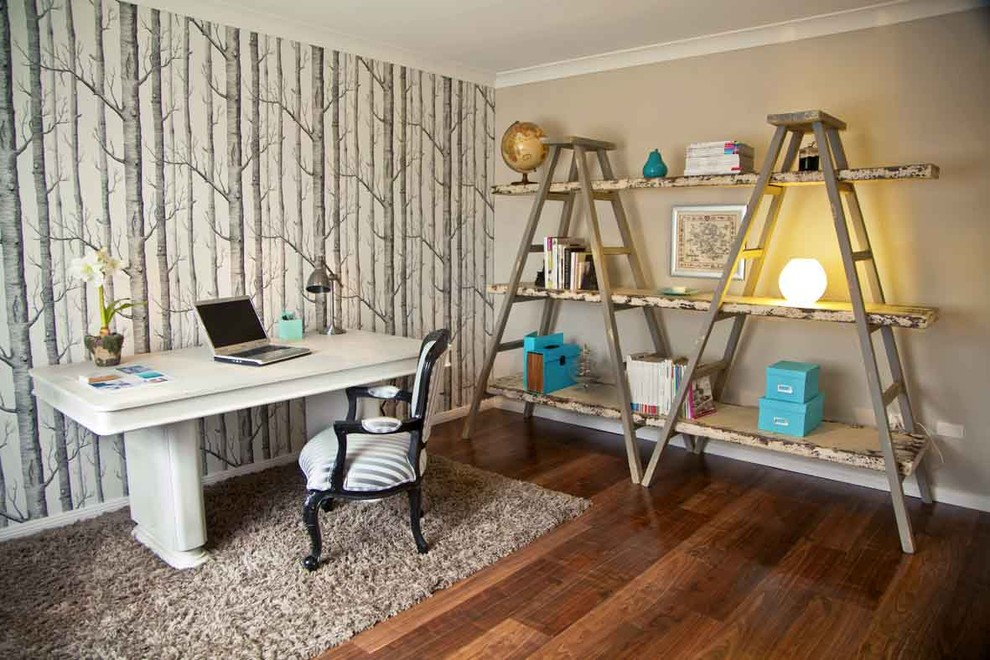 Leaning Ladder Shelf Home Office Eclectic with Area Rug Arm Chair Book Shelves Desk Ladders Office Shelves Storage Striped