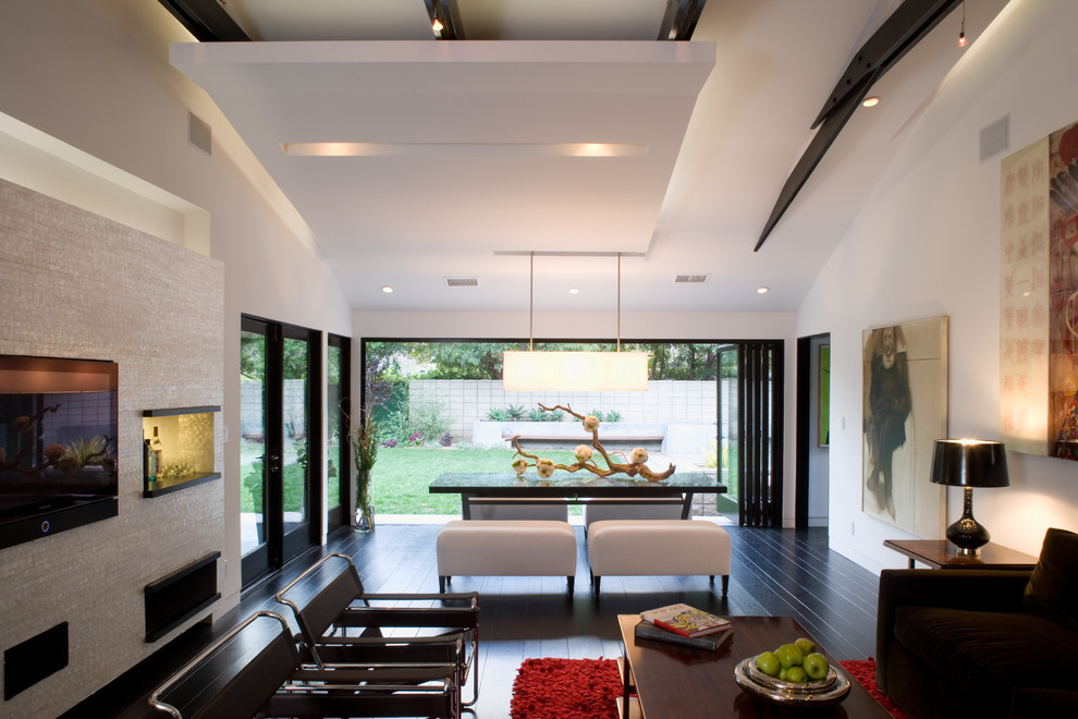 Leaning Ladder Shelf Living Room Modern with Articulated Ceilings Cove Lighting Dark Wood Floors Dining Table and Bench Exposed