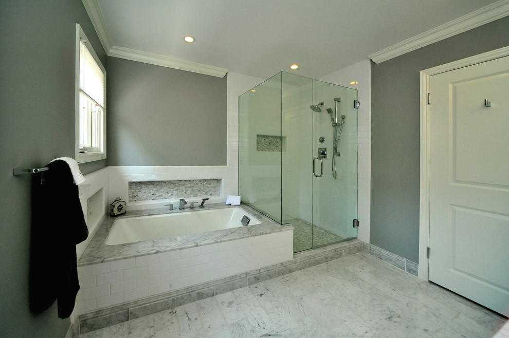 Leaning Mirror Bathroom Transitional with Benjamin Moore Coventry Gray Carrera Countertops Carrera Marble Base Board Carrera Marble