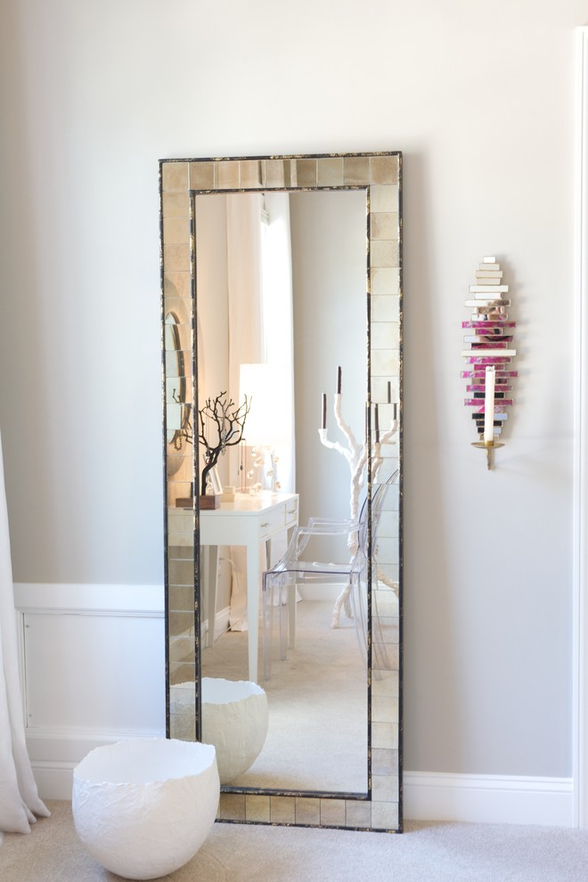 Leaning Mirror Bedroom Contemporary with Baseboards Candle Sconce Dressing Table Floor Mirror Ghost Chair Neutral Colors Organic