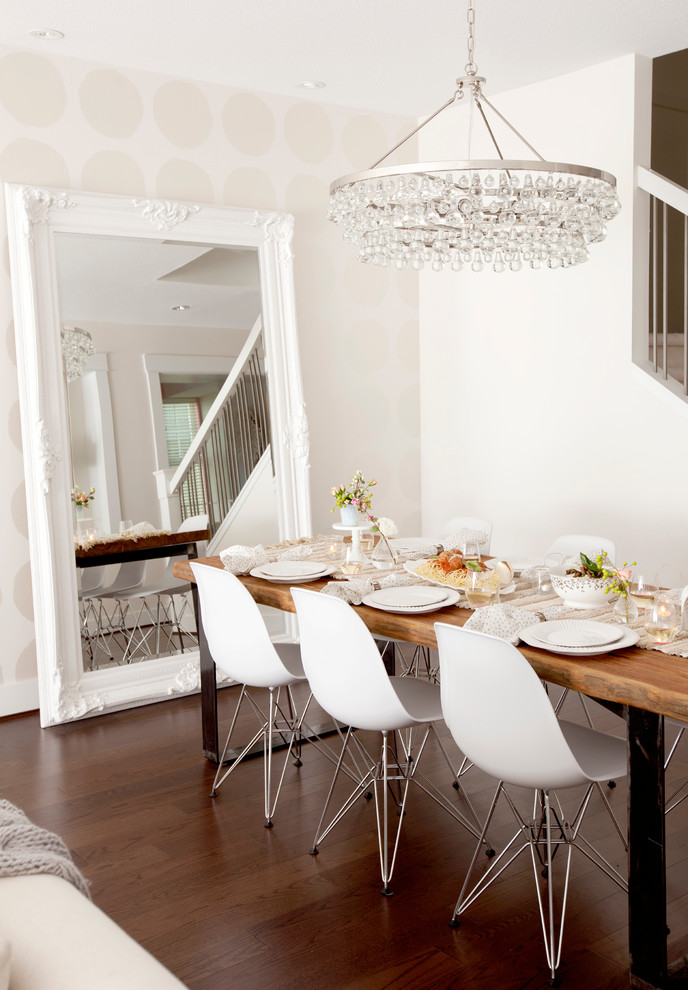 leaning mirror Dining Room Contemporary with chandelier eames chairs leaning mirror oversize mirror polka dot wallpaper Wallpaper