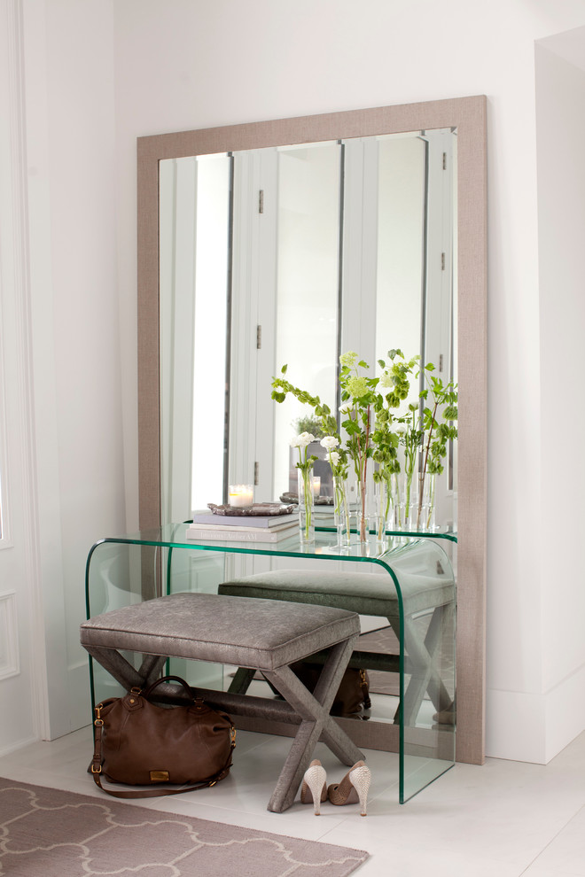 leaning mirror Entry Contemporary with clear console table cool colors entry table gray floor leaning mirror neutral