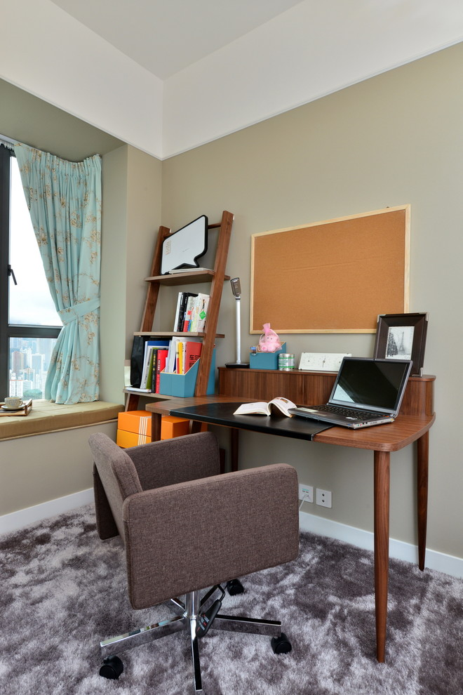Leaning Shelf Home Office Modern with Baseboards Bulletin Board Carpet Flooring Crown Molding Leaning Bookshelves Office Chair Tan