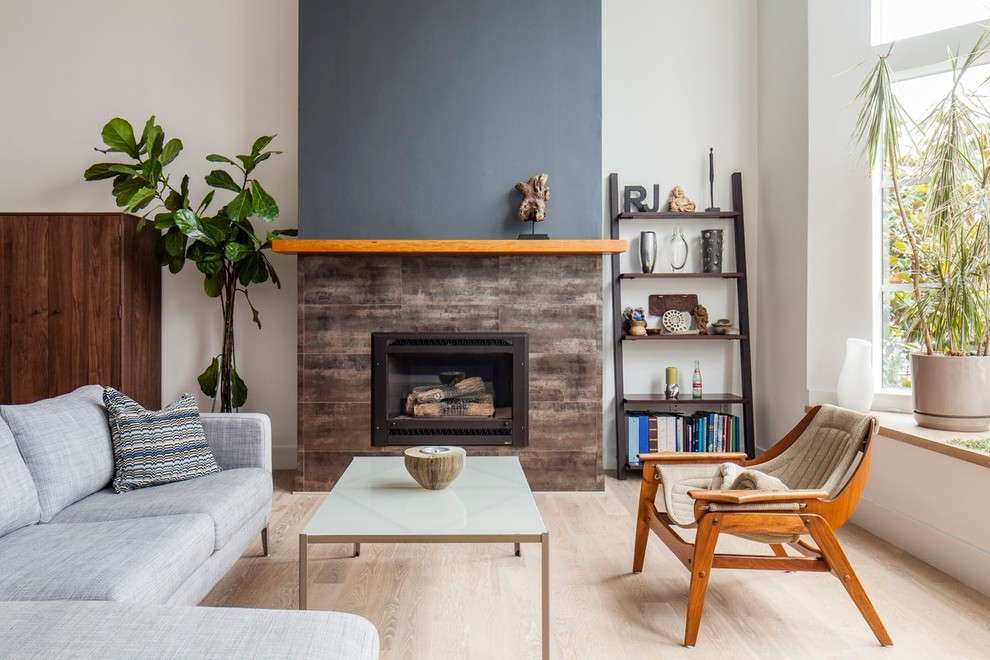 Leaning Shelf Living Room Modern with Beige Wall Black Accent Wall Brown Tile Fireplace Frosted Glass Coffee Table