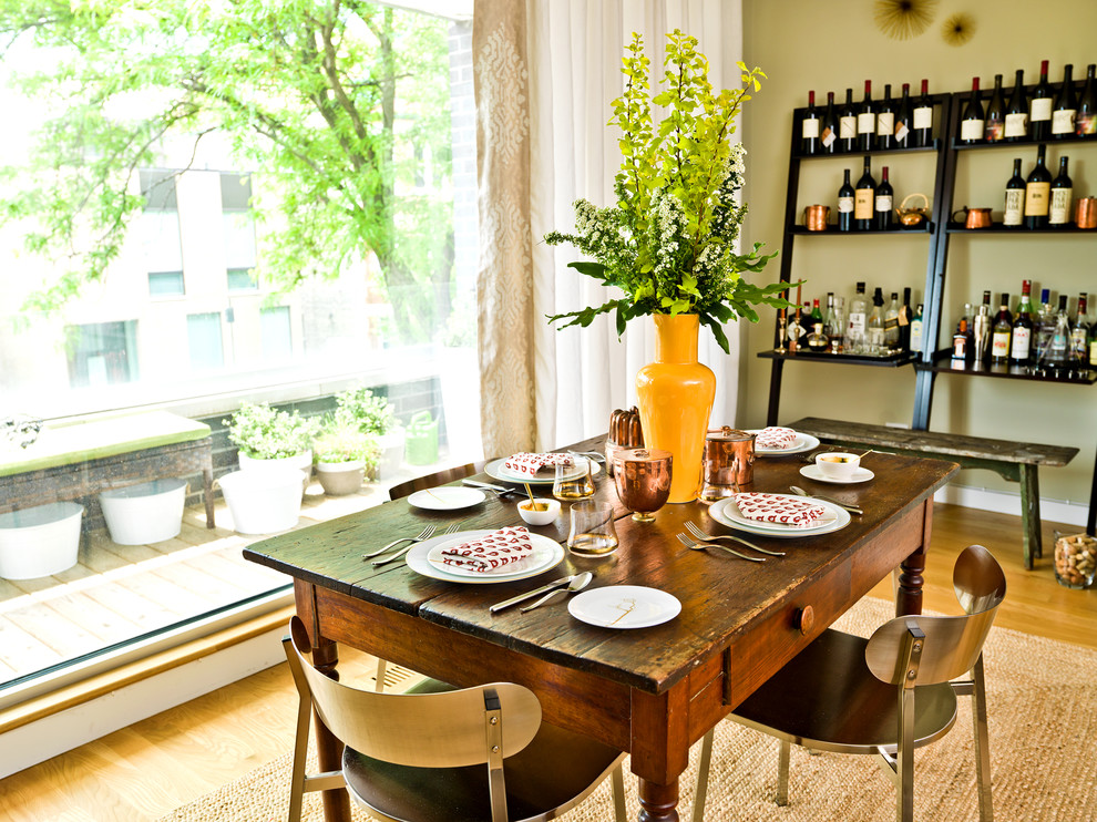 leaning shelves Dining Room Contemporary with bench chairs curtain distressed dining table leaning shelves light wood floor picture
