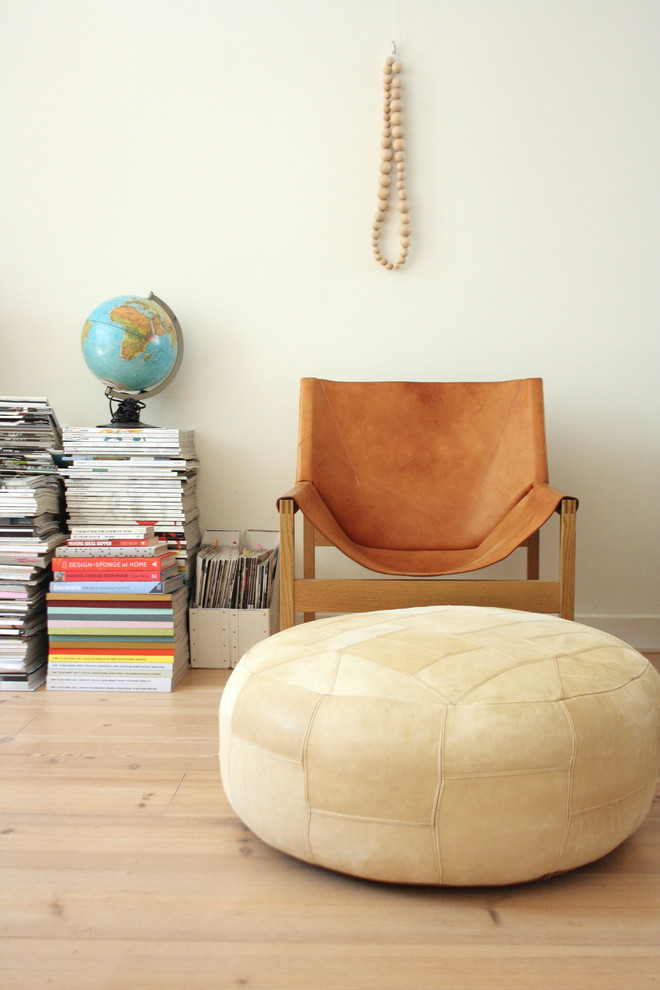 Leather Armchair Living Room Eclectic with Apartment Eclectic Globe Leather Chair Magazines Modern Pout Stacked Magazines Vintage Style
