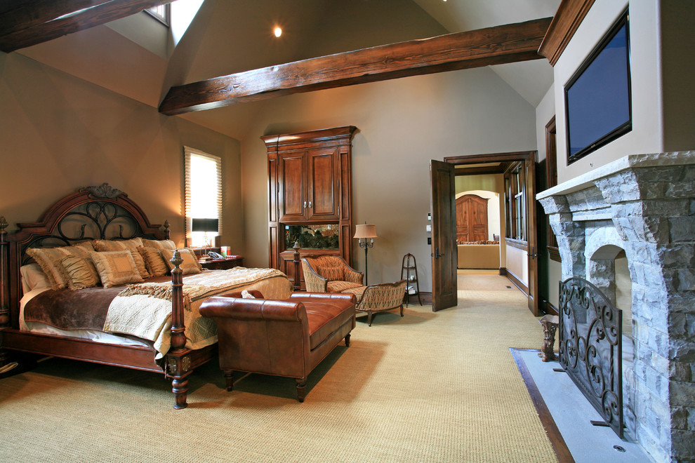 Leather Chaise Bedroom Traditional with Exposed Beams Fireplace Fireplace Screen Flat Screen Tv Leather Chaise Master Sloped