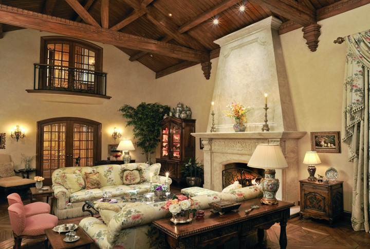 Leather Couches for Sale Living Room Traditional with 2 Story Wood Vaulted Ceiling Arched French Doors Carved Limestone Fireplace Old World