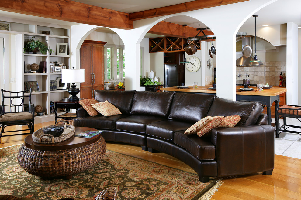 Leather Couches for Sale Living Room Traditional with Arches Area Rug Built Ins Curved Couch Exposed Beams Great Room Leather Open
