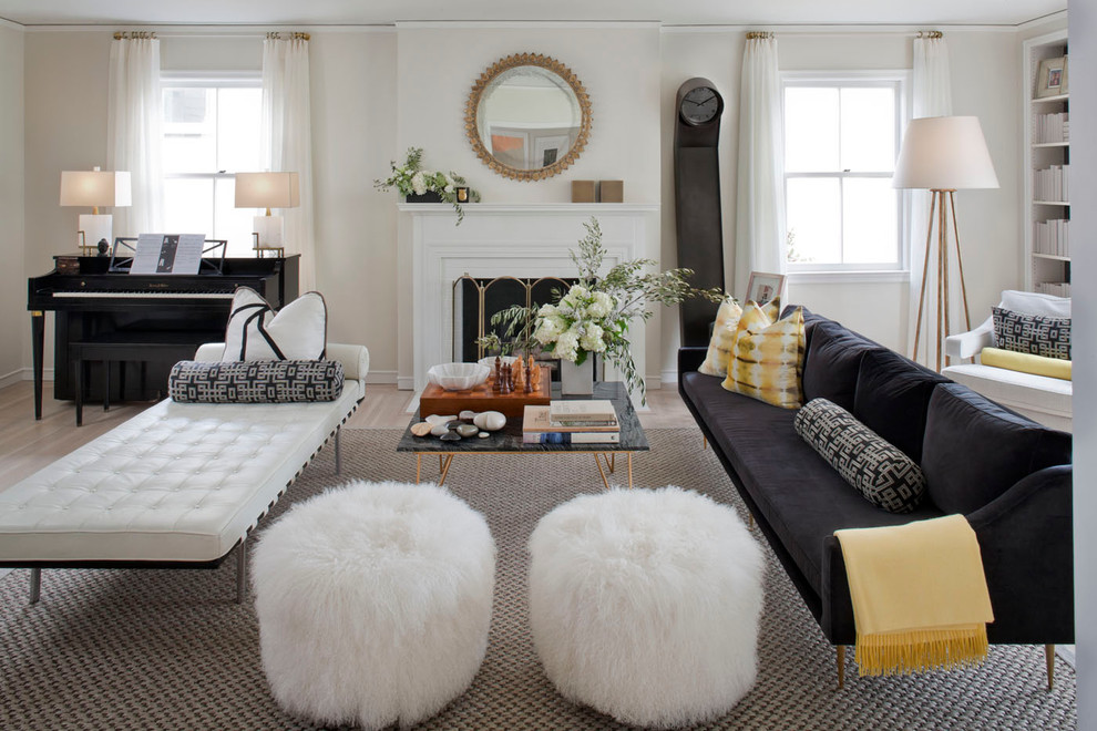 leather daybed Living Room Eclectic with area rug coffee table curtains decorative pillows drapes floral arrangement fuzzy poufs