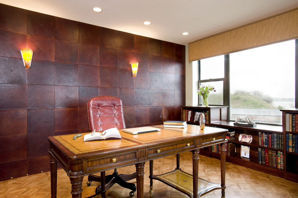leather desk pad Home Office Contemporary with bookcase chair desk desk chair embossed leather tiles leather tiles leather wall