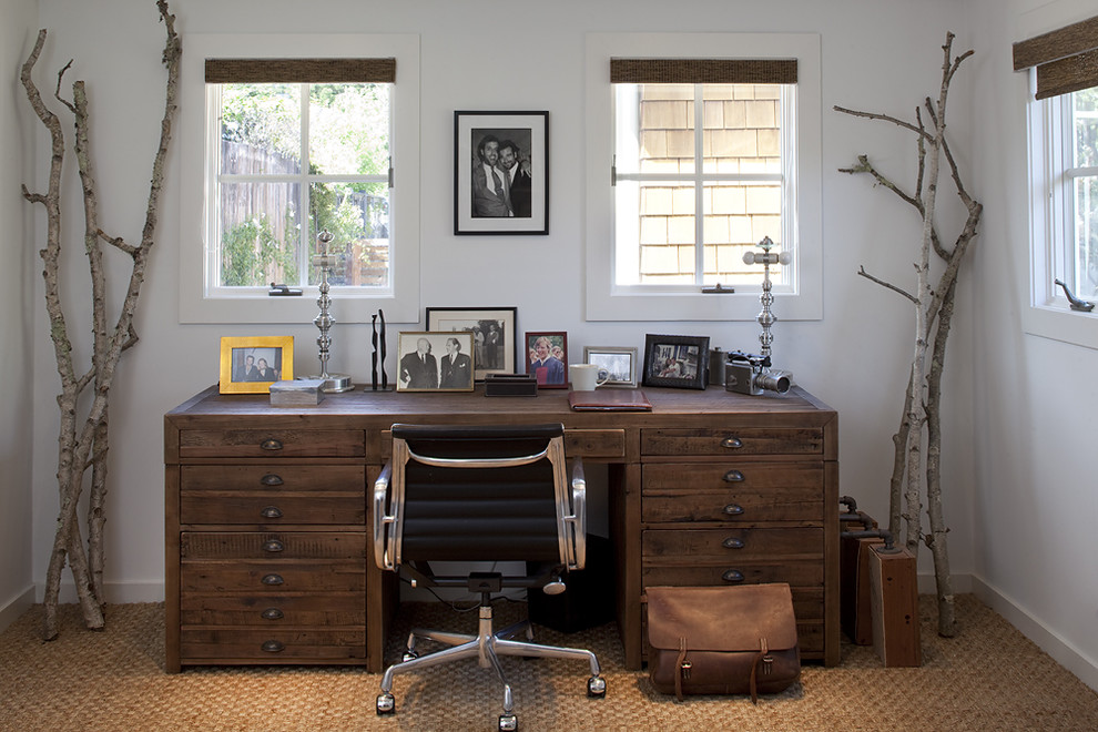 Leather Desk Pad Home Office Rustic with Branches Casement Windows Desk Chair Executive Desk Neutral Colors Rustic Seagrass Rug