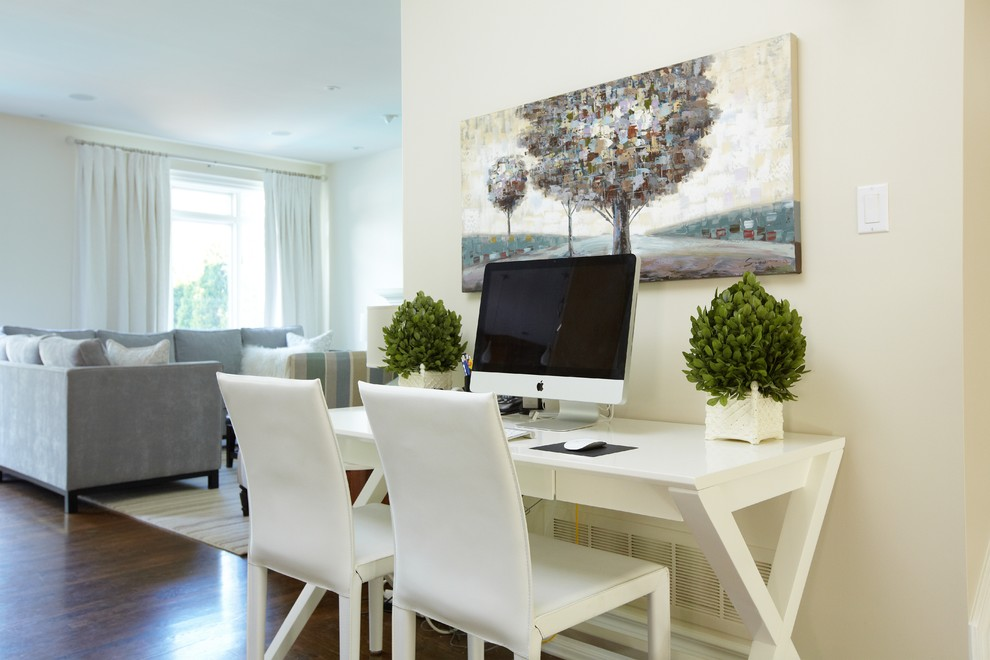 Leather Desk Pad Home Office Traditional with Computer Cream Drapes Gray Sectional Leather Chairs Open Plan Tree Painting White