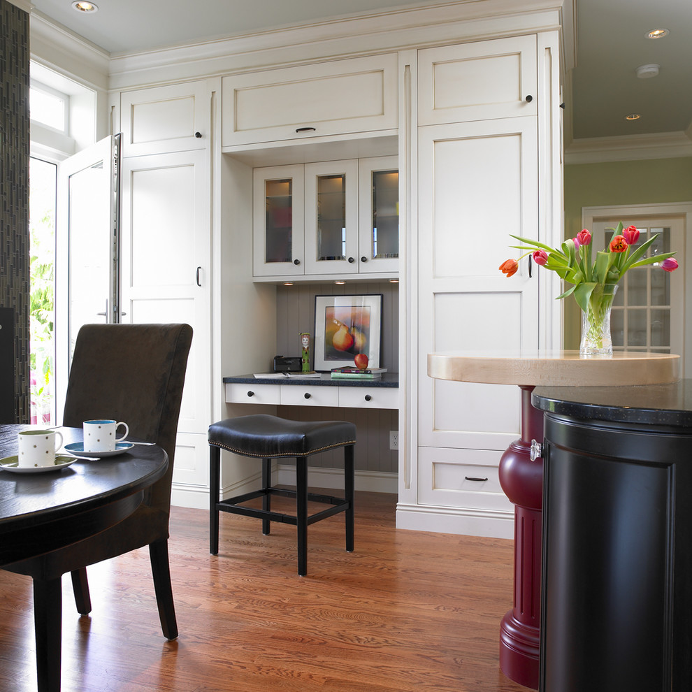 Leather Desk Pad Kitchen Traditional with Built in Desk Built in Storage Crown Molding Eat in Kitchen Floral