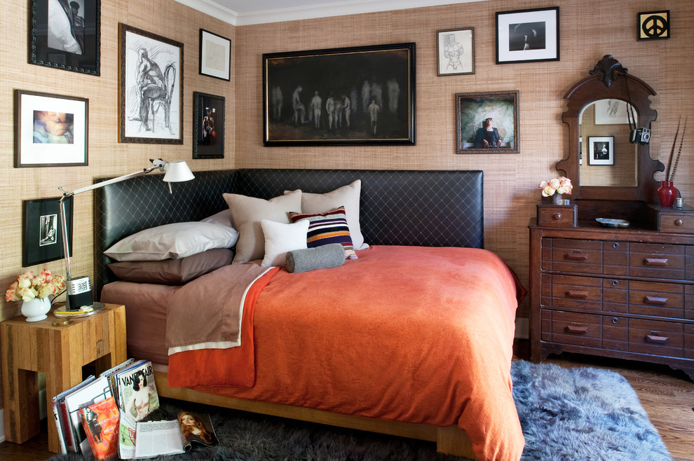 Leather Headboard Bedroom Eclectic with Bed Pillows Bedside Table Chest of Drawers Corner Bed Day Bed Dresser