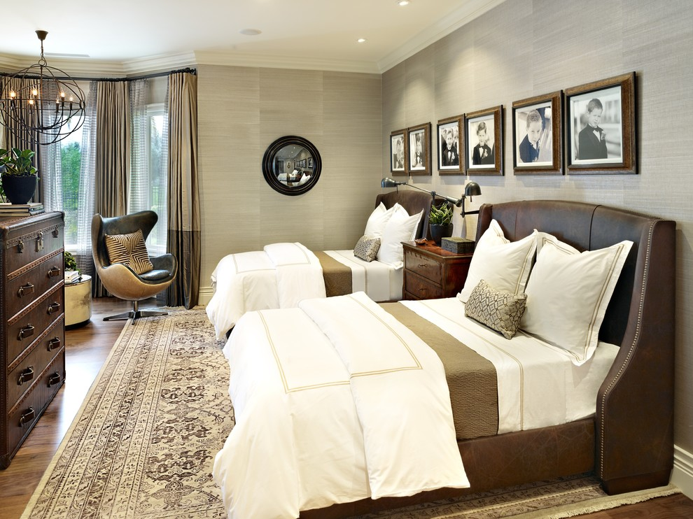 Leather Headboard Bedroom Traditional with Area Rug Bay Windows Chandelier Chest of Drawers Crown Molding Curtains Grass