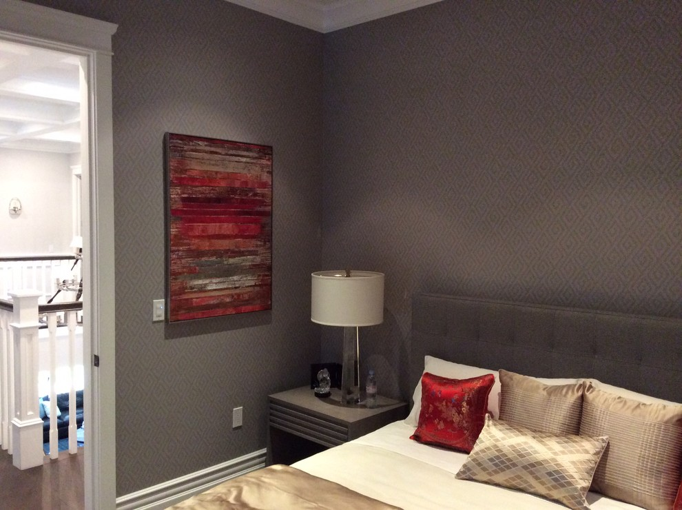 Leather Headboard Bedroom Traditional with Classic Design Contemporary Artwork