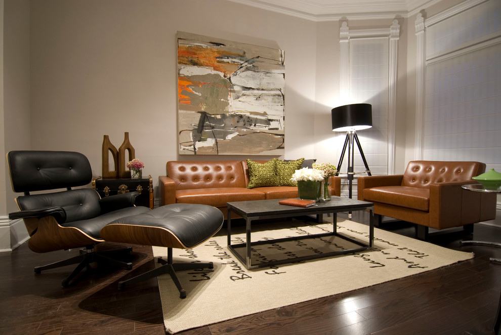Leather Loveseat Living Room Contemporary with Area Rug Beige Walls Black Drumshade Black Eames Chair Black Leather Chair