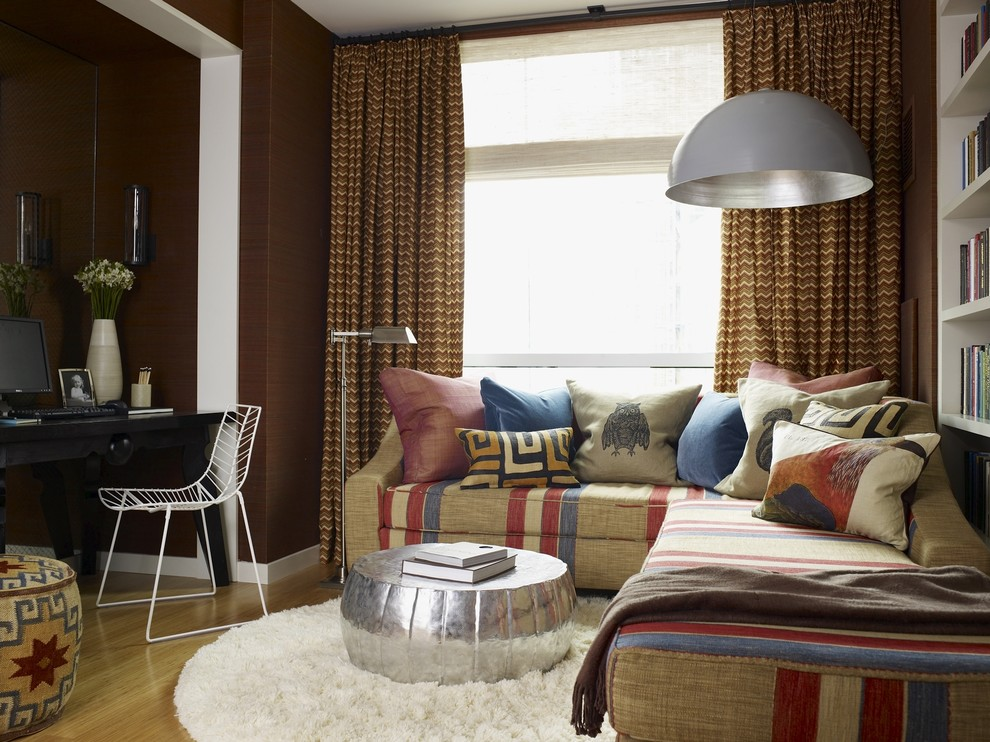 Leather Pouf Family Room Eclectic with Built in Shelves Curtains Dark Walls Decorative Pillows Desk Drapes High Pile