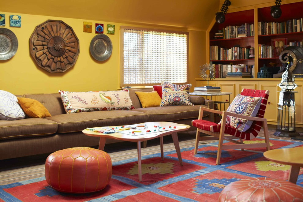 Leather Pouf Living Room Contemporary with Area Rug Artwork Bold Colors Bookcase Bookshelves Built in Shelves Colorful Decorative