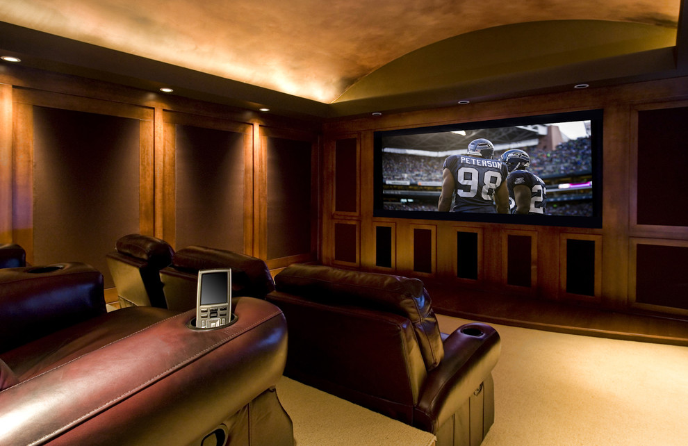 Leather Recliner Home Theater Traditional with Barrel Vault Carpet Ceiling Treatment Dark Wood Dark Wood Paneling Hardwood Flooring
