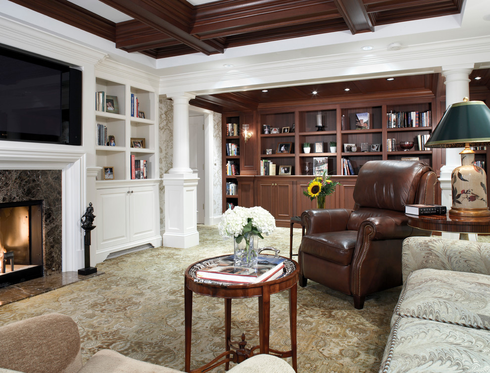 Leather Recliner Living Room Traditional with Beam Ceiling Beige Armchair Beige Patterned Rug Beige Patterned Sofa Beige Patterned