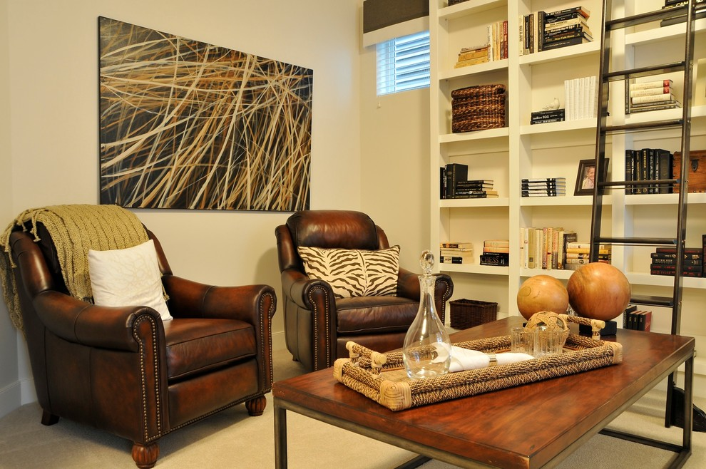 Leather Recliner Living Room Traditional with Beige Bookcase Beige Bookshelf Beige Wall Book Shelf Brown Leather Armchair Built In