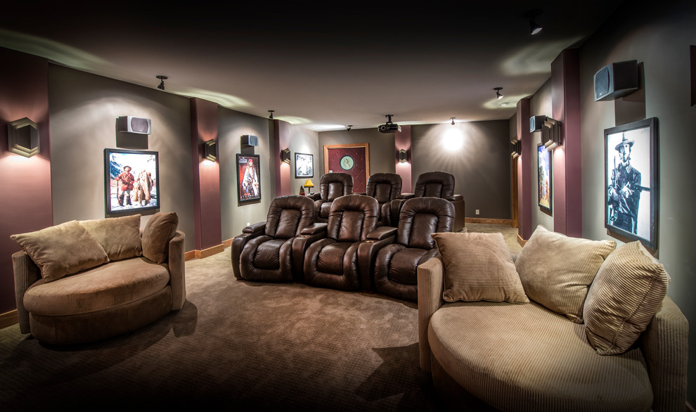 Leather Recliner Chair Home Theater Traditional with Brown Leather Recliners Chair and a Half Gray Walls Movie Posters Projector