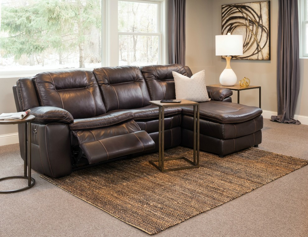 Leather Reclining Sectional Family Room Transitional with Family Room Leather Motion Furniture Recliner