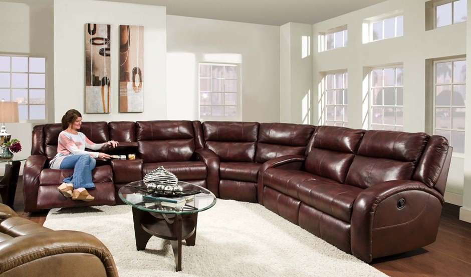 leather reclining sectional Living Room Rustic with none